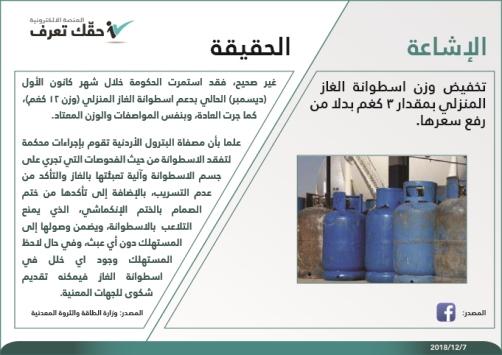 الحكومة تنفي تخفيض وزن اسطوانة الغاز المنزلي السبيل